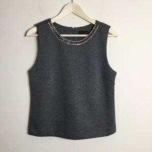 Cynthia Rowley Sleeveless Tank Jeweled Collar